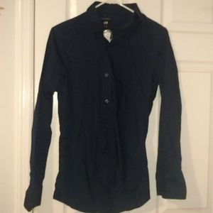 Dark blue button down